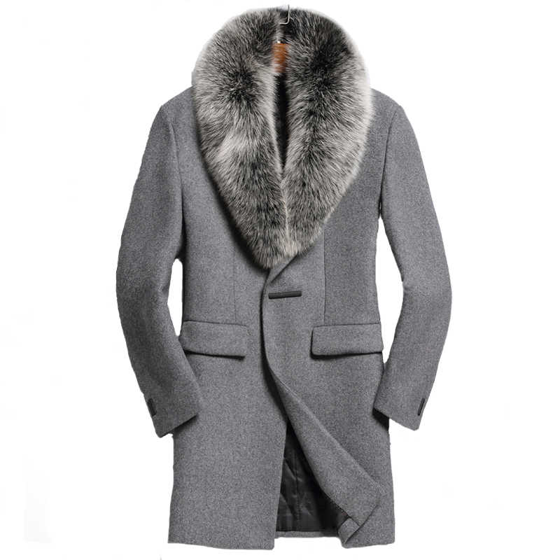 pretty nice famous brand sneakers AYUNSUE Autumn Winter Real Fox Fur Collar Wool Men Coat Korean ...