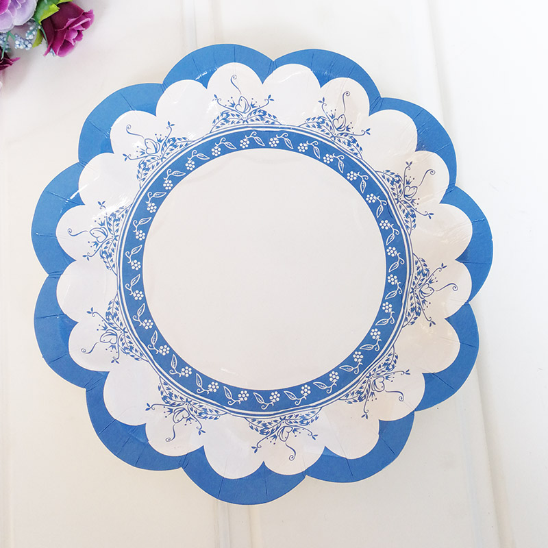 3 Style 18cm Blue Petal Round Paper Plates 350g White Cardboard Party Supplies Paper Disposable Plates-in Disposable Party Tableware from Home u0026 Garden on ... & 3 Style 18cm Blue Petal Round Paper Plates 350g White Cardboard ...