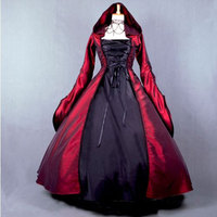 18th Century Hooded Wine Red and Black Long Sleeve Rococo Party Dress Renaissance banquet Halloween Ball Gowns For Women