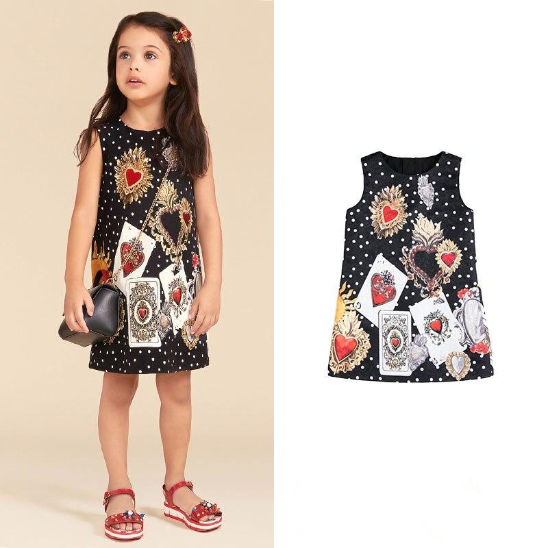 Girls' Wear Fashion Wave Poker Jacquard Girl dress jacquard panel zipper design a line dress