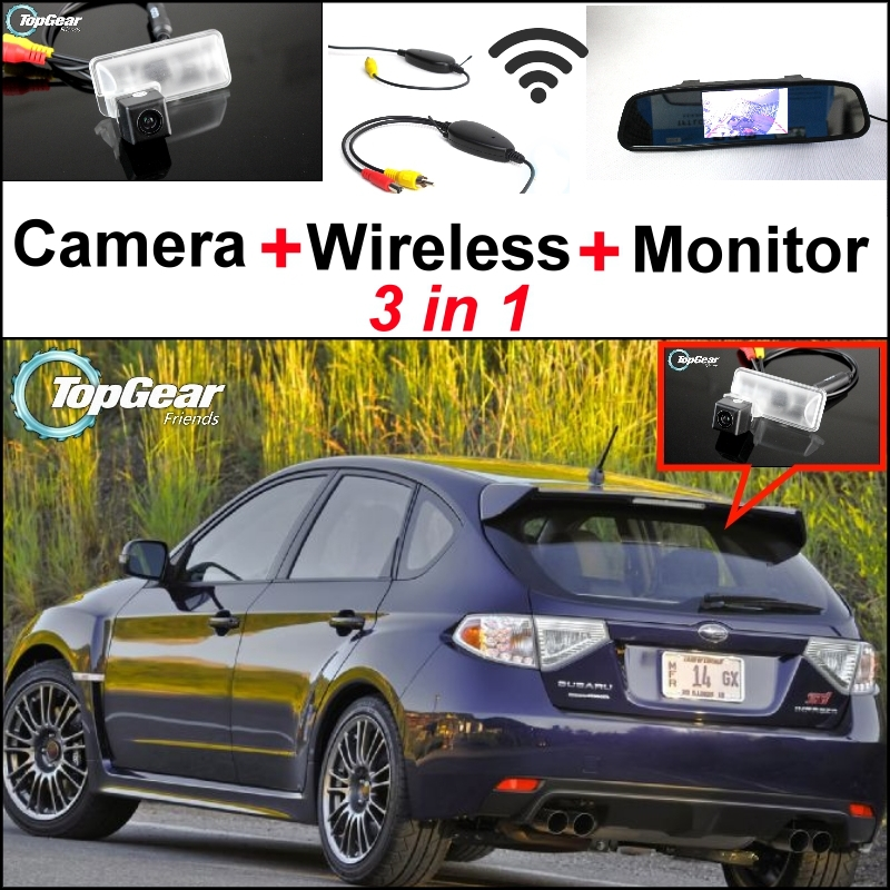3 in1 Special Rear View Camera + Wireless Receiver + Mirror Monitor DIY Back Up Parking System For Subaru XV Impreza GJ GP 3 in1 special rear view camera wireless receiver mirror monitor back up parking system for honda jazz 5d 2002 2013
