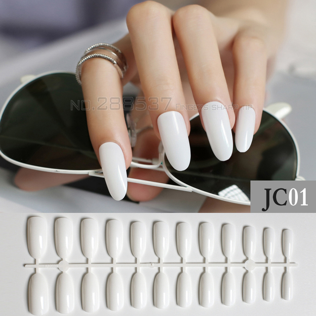 Candy Pure colour New Almond long Round head Designs white color ...