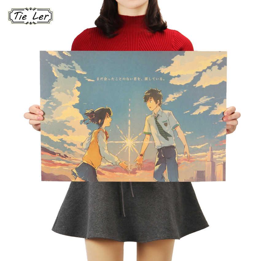 Плоский стикер на стену ваше имя стиль плакат для кафе бар Домашний декор живопись аниме крафт-бумага стикер на стену 51X36 см
