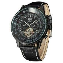 Мужчины бизнес-механические наручные часы кожаный ремешок отображения даты тахометр суб-диск автоматическая — self-ветер