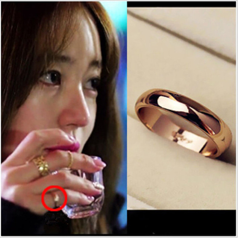 rose gold color ring minimalist glossy new Korean fashion female