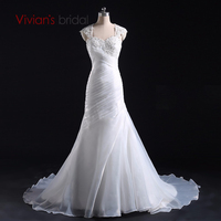 Vivians Bridal New Arrival Appliques Chiffon And Satin Mermaid Wedding Dress Organza Floor Length Vestido De
