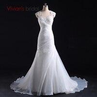 Vivians Bridal New Arrival Appliques Chiffon And Satin Mermaid Wedding Dress Organza Floor Length Vestido De