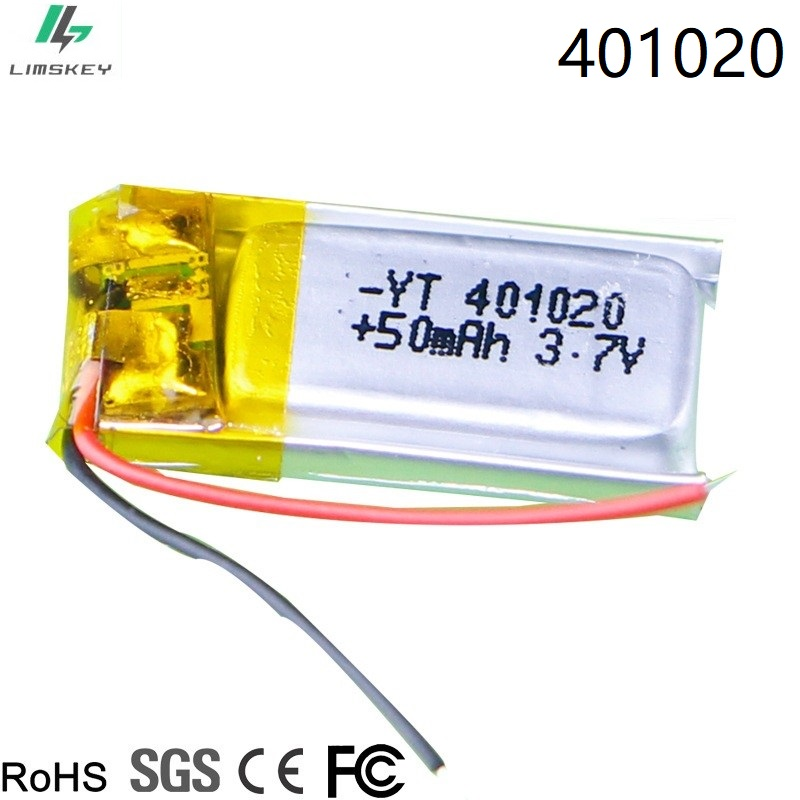 <font><b>3.7v</b></font> <font><b>50mah</b></font> 1s Rc Toys,Rc Cars Bluetooth speaker, Bluetooth headset, digital products Lithium ion polymer <font><b>battery</b></font> <font><b>3.7V</b></font> 401020 image