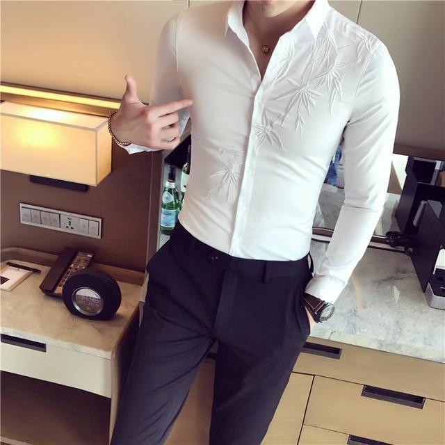 New Korean Men s Shirts Long Sleeves Slim Pure Hair Stylist Printing White  Shirts Trends China Wind Leisure Flower Shirt Men a99e9987b