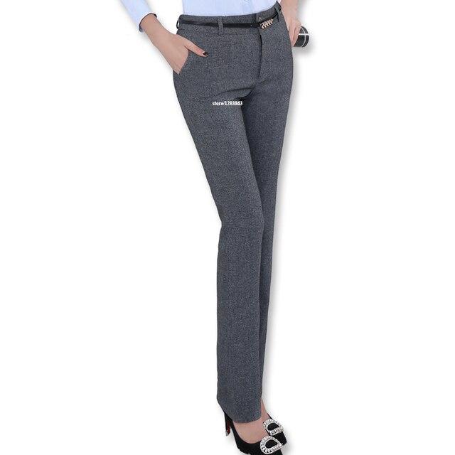 Новая мода Средний талия поясе брюки без пояса для женщин офис ПР стиль рабочая одежда прямые брюки женская одежда