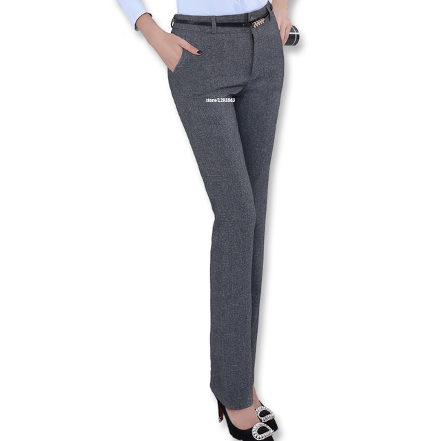 new fashion Mid waist belt loop pants without belt for women office OL style work wear straight trousers female clothings