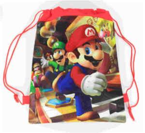 Image 5 - 20 Chiếc Super Mario Chủ Đề Vải Không Dệt Dây Rút Ba Lô Cho Bé Sinh Nhật Ủng Hộ Tặng 34*27Cm