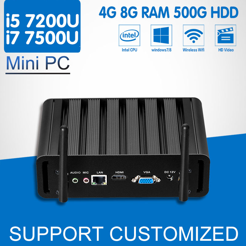 Intel Core i7 7500U Mini PC 7th Gen i5 7200U Mini Office Computer Windows 10 Ubuntu 4K HTPC Media Player Kaby Lake Minipc Nuc 7th gen intel core i7 7500u kaby lake mini pc windows 10 computer ddr4 3 5ghz intel hd graphics 620 micro pc minipc 4k htpc