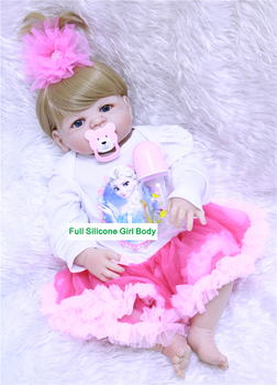 "Lovely reborn babies girl dolls toys 22""55cm full silicone body reborn dolls can enter water with pacifier bottle bonecas reborn"