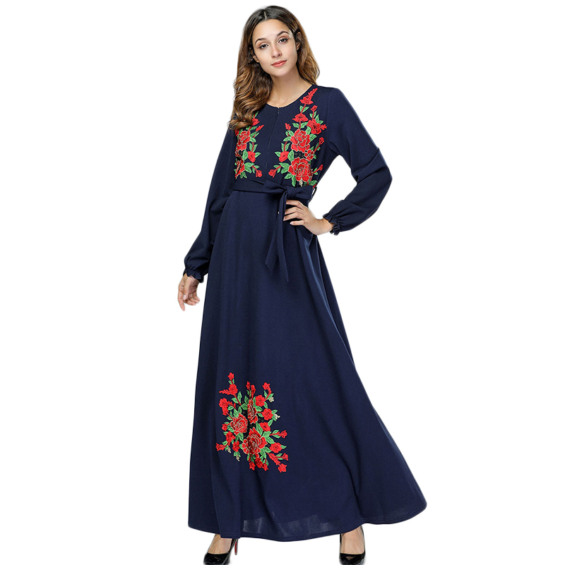 WHZHM Floral Plus Size 3XL 4XL Women Robe Party Dress Dark Blue Female Long Muslim Sashes Embroidery Maxi Flower Vadim 7418