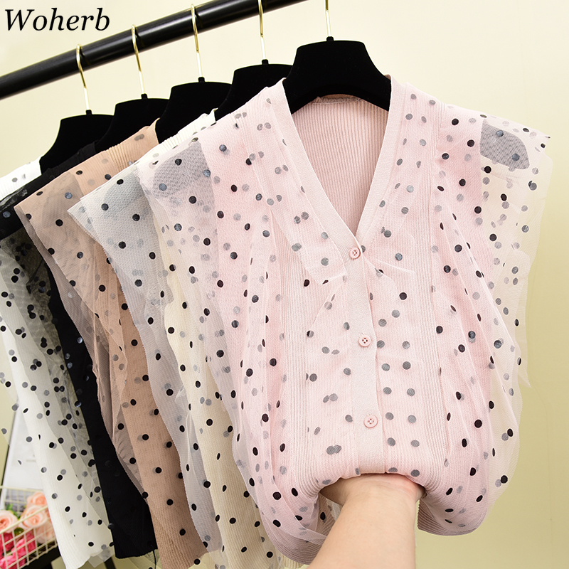 Woherb Knitted Sleeveless Tank-Top Gauze-Patch Shirt Tops V-Neck Print Polka-Dot Vintage