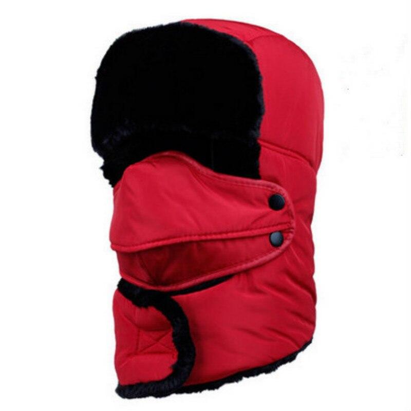 Которая в душе семья мех бомбер шляпа для женщин и мужчин ушные щитки Русская Шапка Детская уличная теплая утолщенная зимняя шапка с шарфом маска - Цвет: adult red