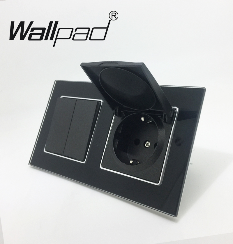 EU Socket Witch Dust Cap Wallpad 110-250V Crystal Glass EU 2 Gang 1 Way Light Switch with EU Cap Socket with Claws Black 10a universal socket and 3 gang 1 way switch wallpad 146 86mm white crystal glass 3 push button switch and socket free shipping