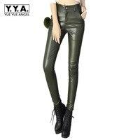 2018 Mulheres de Inverno PU de Couro Calças de Cintura Alta Moda Retro Slim Fit Calças Femininas Roupas Feminina Pantolon Preto Plus Size