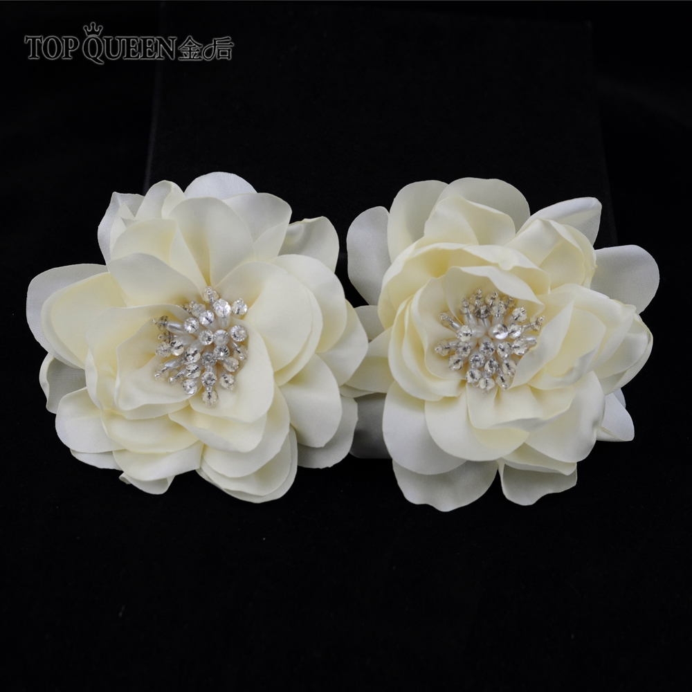 TOPQUEEN HP50-D DIY Headdress Hair Accessories For Bridal Wedding The Cloth Flower Ivory Rose Flower Hairpin Hair Clip Wholesale