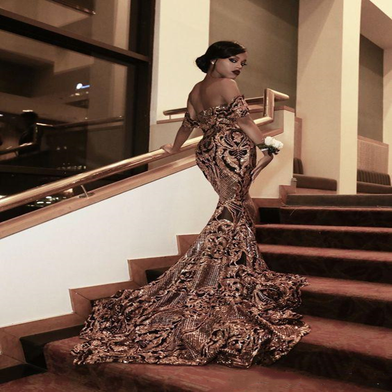 New Luxury Gold Black Prom Dresses Mermaid off shoulder Sexy African Prom Gowns Vestidos Special Occasion Dresses Evening Dress