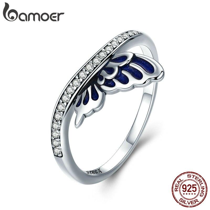 BAMOER Genuine 100% 925 Sterling Silver Butterfly Fairy Wings Finger Rings for Women Wedding Engagement Jewelry Gift SCR330 mariposa en plata anillo