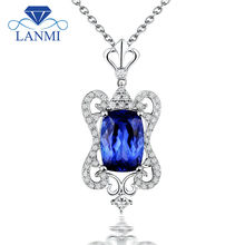 Solid 14K White Gold Genuine Diamond Natural Tanzanite Mother Daughter Pendant Cushion Cut Design Jewelry  WP068