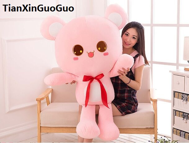 stuffed toy pink teddy bear large 120cm silk belt bear plush toy soft doll hugging pillow birthday gift h2999 stuffed animal plush 120cm tie teddy bear plush toy pink teddy bear doll gift t6135
