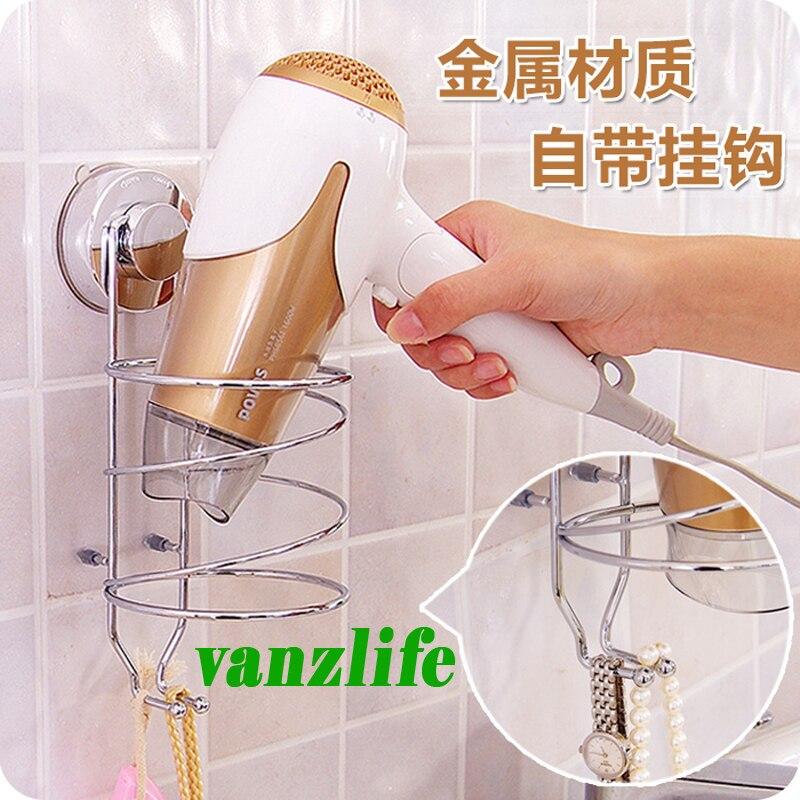 vanzlife Daily Merchandises Store vanzlife multi-function storage rack powerful suction stainless steel holder for hair dryer bathroom wall shelf