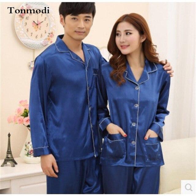 97e87ab3bc Pijamas de seda de Las Mujeres Amor de Primavera Y Otoño de Los Hombres  Pijamas De
