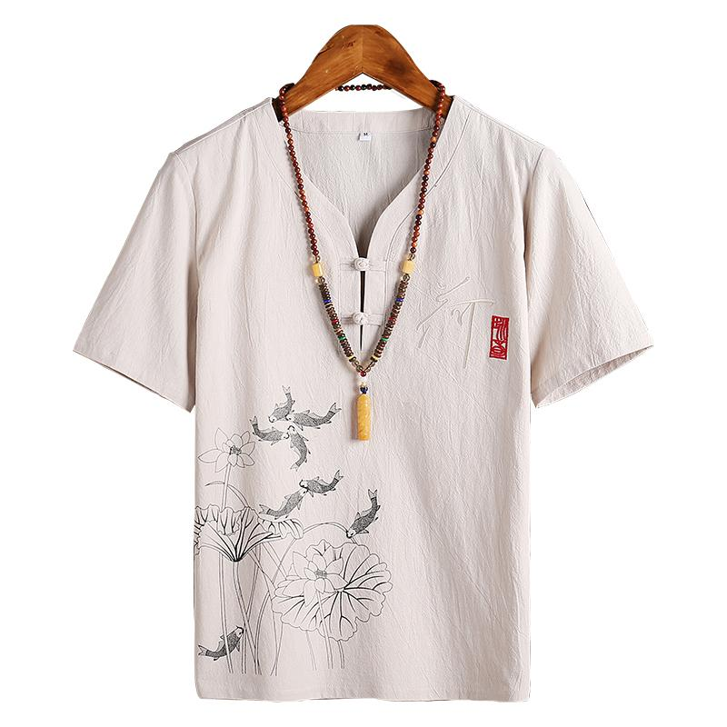 Chinese Style Collarless Short Sleeve Shirt Men Streetwear Plus Size 5XL 4XL Linen Shirts Casual Fashion Blouse Vintage Office