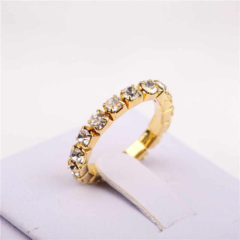 Korean Bright 18KGP Elastic Imitation Diamond Rings. Shining Full Crystal Rhinestone finger Rings for women 3mm