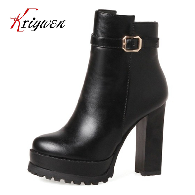 Autumn winter Artificial leather women ankle boots round toe platorm high heels woman shoes buckle martin boots plus size 33-43 enmayla ankle boots for women low heels autumn and winter boots shoes woman large size 34 43 round toe motorcycle boots