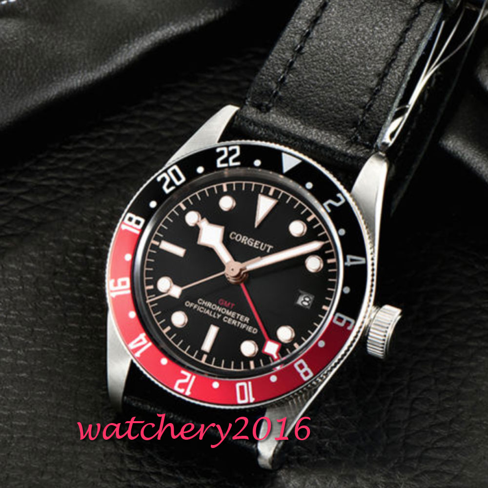41mm Corgeut Automatic Watch GMT Clock Black Mechanical Watches Classic Men Watch Top Brand Luxury Sapphire Glass Gifts for Men цена и фото