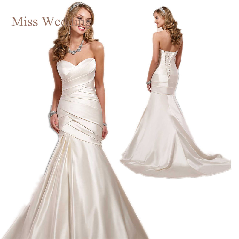 Miss Wedding Modern Elegant Luxe Satin Mermaid Dress With Fitted Bodice Of Thick Criss Cross Pleating SP 6145 In Dresses From Weddings
