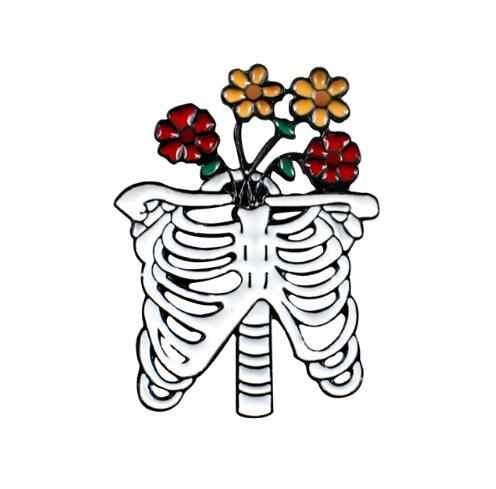 Caixa Torácica e crânio esqueleto com flores Esmalte Pinos com flores Broche pin Badge Goth Punk Jóias Presente do Dia Das Bruxas para amigos