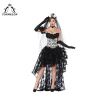 TOPMELON Sexy Costume Floral Skirts with Overbust Corsets 2 Pieces Bustier Tops & Lace Maxi Skirt Shows Cosplay Party Clothing