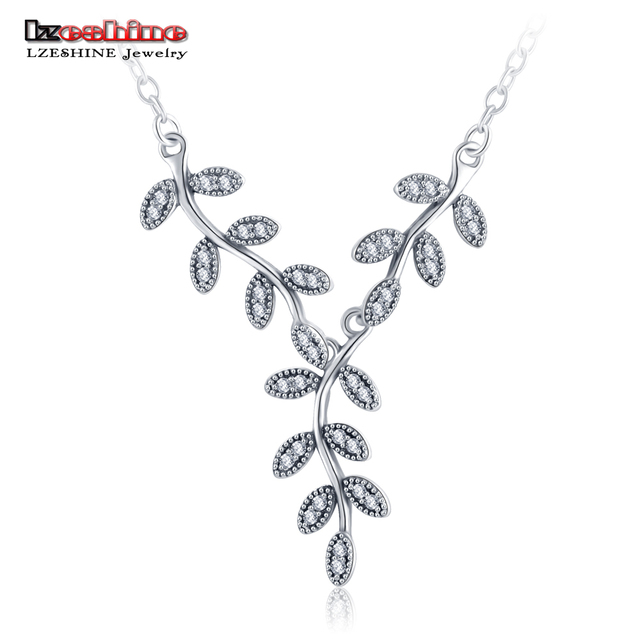 LZESHINE 100% 925 Sterling Silver Pendant Necklace New Mothers Day Gift Leaf Shape Fashion Pendant/ Pingente with Chain PSNL0008