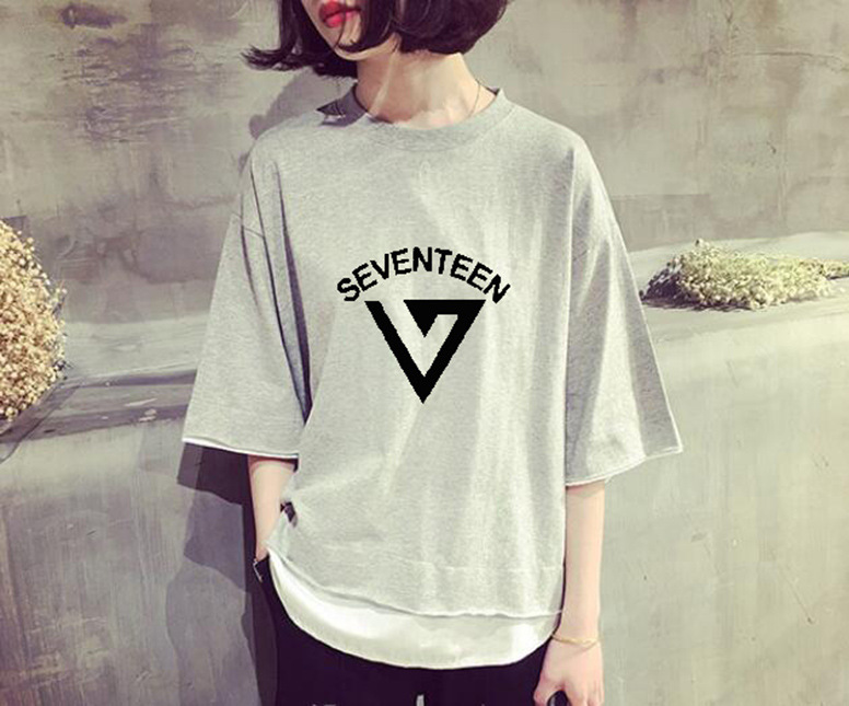 2018 new kpop seventeen 17 JOSHUA HOSHI summer Korean version Solid color fake two K-POP Womens short-sleeved T-shirt