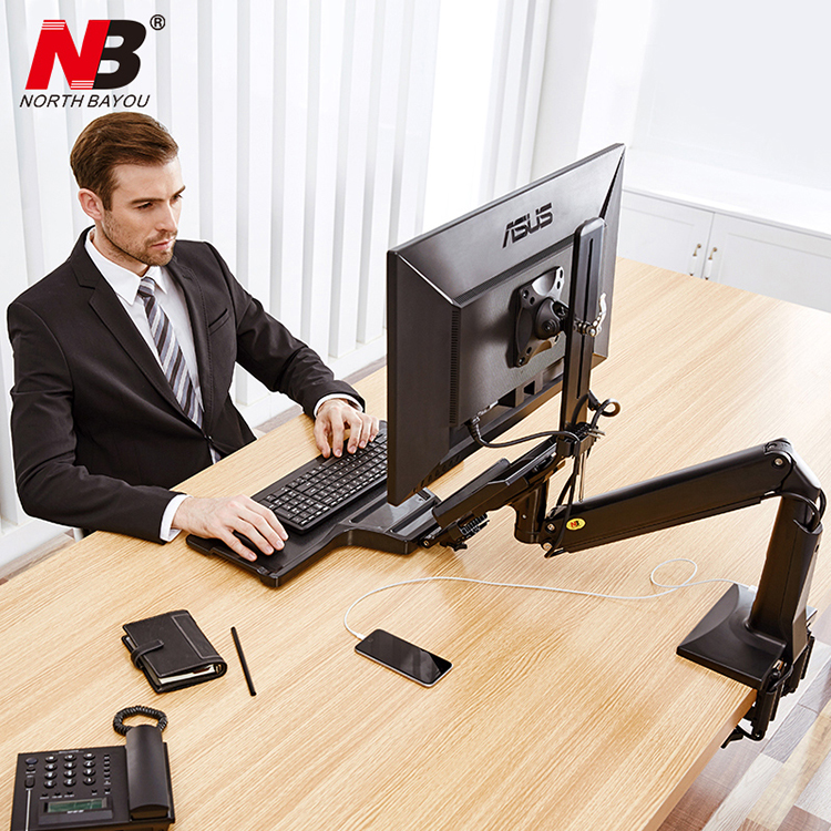 NB FC35 Ergonomic Desktop Gas Spring 22-35 inch Monitor Holder With Foldable Keyboard Tray Full Motion Sit-Stand Workstation nb 35 rotational professional recording microphone stand holder black white