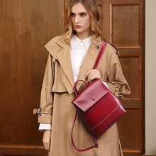 Red Women's Backpack Genuine leather Female bag pack school bags for teenage girls Black designer backpacks women high quality недорого