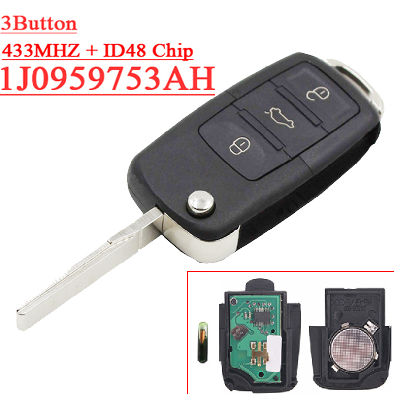 (1piece)1J0959 753AH 3 Button Flip Remote Key 1J0 959 753 AH With ID48 Chip 433MHZ For 2002-2005 VW