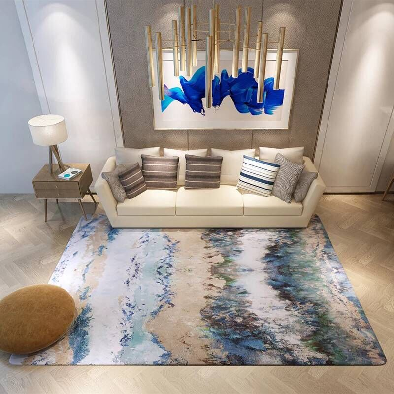 Grand salon/chambre Tapis Antidérapant doux Vintage tapis moderne tapis tapis Abstrait Art Anti-slip Tapis Pad de chevet Couverture