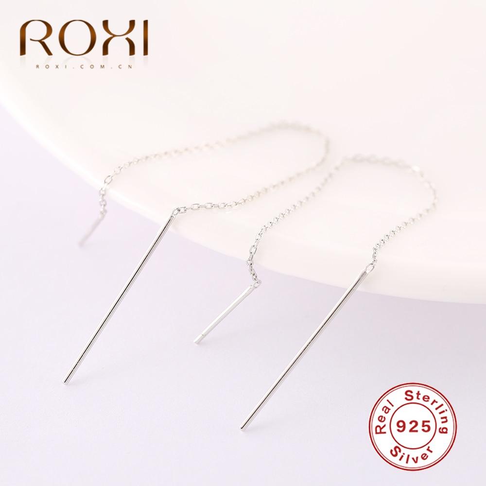 ROXI 925 Sterling Silver Earrings for Women Long Tassel Earrings Ear Line Pendientes Geometry Stick Drop Dangle Earrings Jewelry