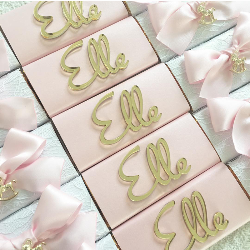 Custom Made Gold Acrylic Mirror Tags, Personalized Acrylic Tags For Baby Shower Favors, Laser Cut Chocolate Lettering Tags