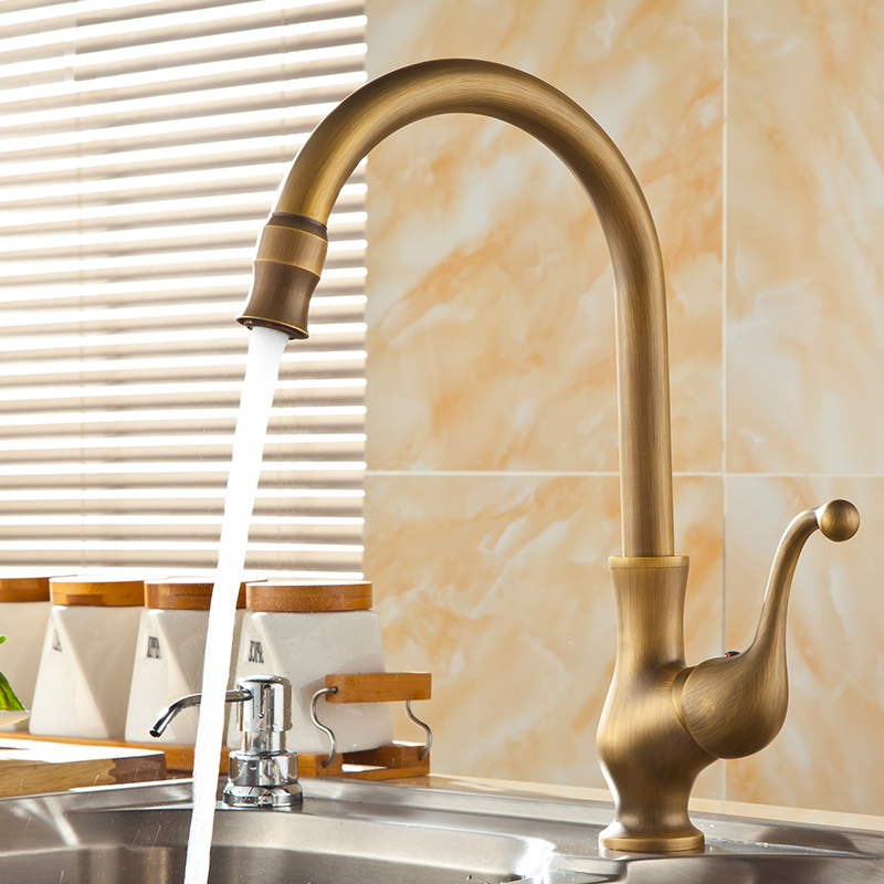 Free Shipping European Style Antique Brass Water Tap Kitchen Faucet ...