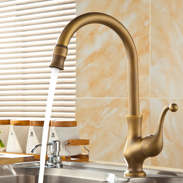 Free Shipping European Style Antique Brass Water Tap Kitchen ...