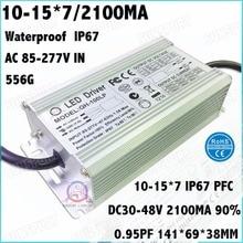2 Stücke Hohe PFC IP67 100 Watt AC85 277V Led treiber 10 15Cx7B 2100mA DC30 48V Konstantstrom LED Power Für Scheinwerfer Freies verschiffen
