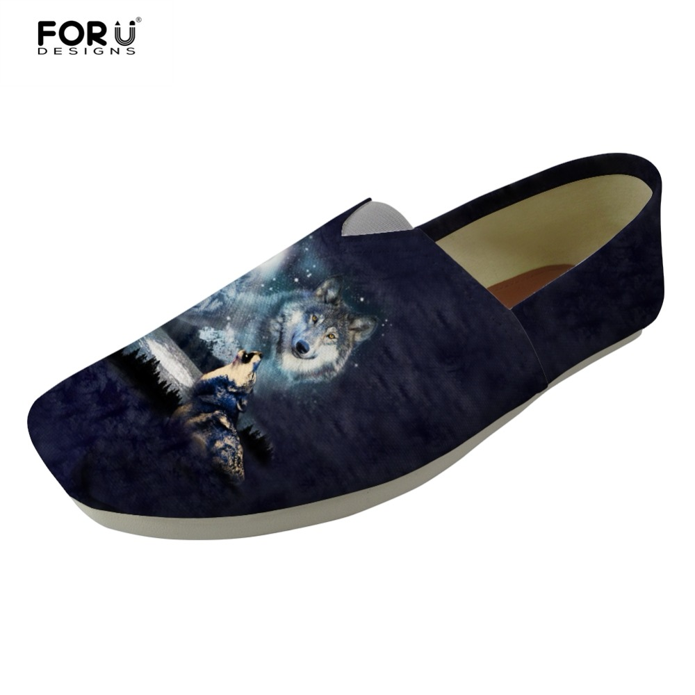 FORUDESIGNS Mens Loafers Cool 3D Animal Wolf Prints Summer Flats Lazy Shoes for Teenage Boys Casual Slip On Canvas Shoes Men