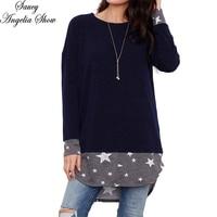 SAUCY ANGELIA Women T Shirt Kawaii Stars Print Cotton Tops Long Sleeve Shirt Vetement Femme Haut Camisetas Female Casual Tees